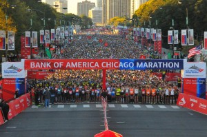 The start of the 2013 Chicago Marathon, I hope to be somewhere in the middle of this crowd on Oct.12 this year.