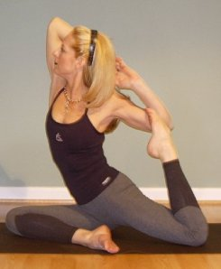 Friend and business associate, MJ, demonstrating a yoga pose I can only hope to do.
