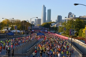 The start of the Chicago Marathon 2014. I am somewhere in the crowd of 45,000 runners.